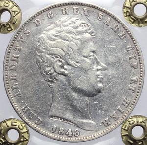 obverse: Carlo Alberto (1831-1849). 5 lire 1843 Genova