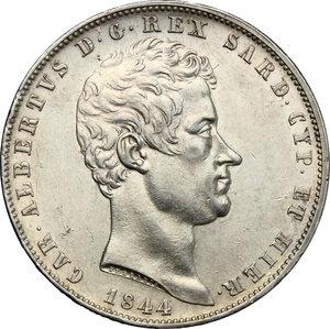 obverse: Carlo Alberto (1831-1849).. 5 lire 1844 Genova