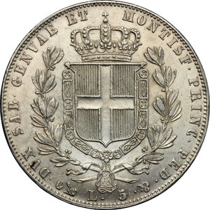 reverse: Carlo Alberto (1831-1849).. 5 lire 1844 Genova