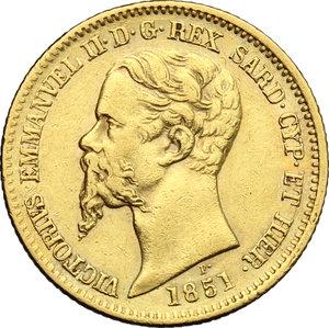 obverse: Vittorio Emanuele II  (1849-1861). 20 lire 1851 Genova