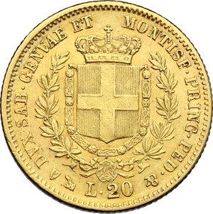 reverse: Vittorio Emanuele II  (1849-1861). 20 lire 1851 Genova
