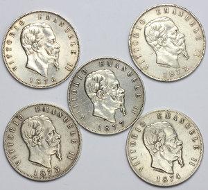 obverse: Vittorio Emanuele II  (1861-1878). Lotto di 5 monete da 5 lire (1872 M, 1873 M, 1874 M, 1876 R, 1877 R)