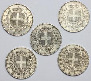 reverse: Vittorio Emanuele II  (1861-1878). Lotto di 5 monete da 5 lire (1872 M, 1873 M, 1874 M, 1876 R, 1877 R)