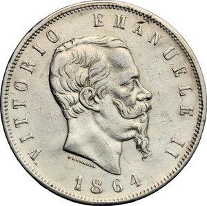 obverse: Vittorio Emanuele II  (1861-1878). 5 lire 1864 Napoli