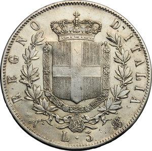 reverse: Vittorio Emanuele II  (1861-1878). 5 lire 1864 Napoli
