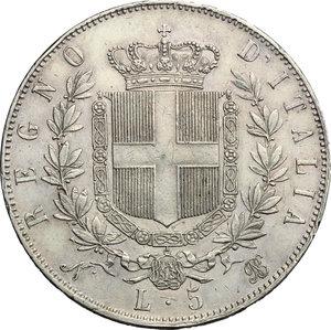 reverse: Vittorio Emanuele II  (1861-1878).. 5 lire 1865 Napoli