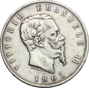 obverse: Vittorio Emanuele II  (1861-1878).. 5 lire 1865 Napoli