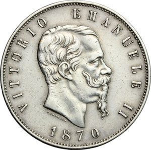 Vittorio Emanuele II  (1861-1878). 5 lire 1870 Roma
