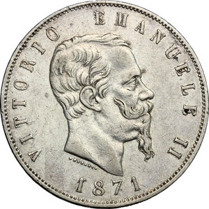 obverse: Vittorio Emanuele II  (1861-1878).. 5 lire 1871, Milano