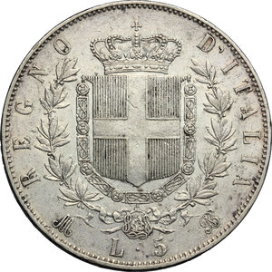 reverse: Vittorio Emanuele II  (1861-1878).. 5 lire 1871, Milano