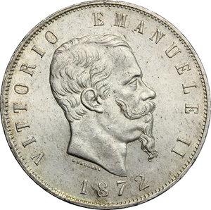 obverse: Vittorio Emanuele II  (1861-1878).. 5 lire 1872, Milano