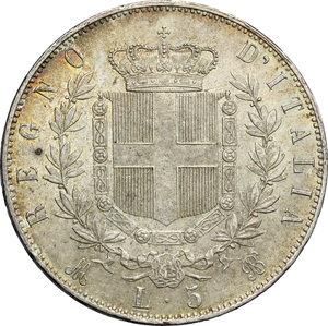 reverse: Vittorio Emanuele II  (1861-1878).. 5 lire 1872, Milano