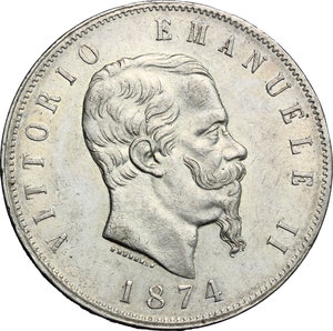 obverse: Vittorio Emanuele II  (1861-1878).. 5 lire 1874 Milano