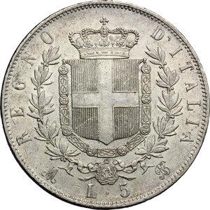 reverse: Vittorio Emanuele II  (1861-1878).. 5 lire 1874 Milano