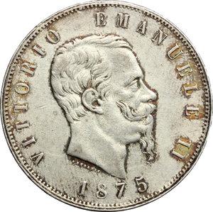 obverse: Vittorio Emanuele II  (1861-1878).. 5 lire 1875 Milano