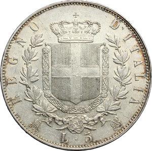 reverse: Vittorio Emanuele II  (1861-1878).. 5 lire 1875 Milano