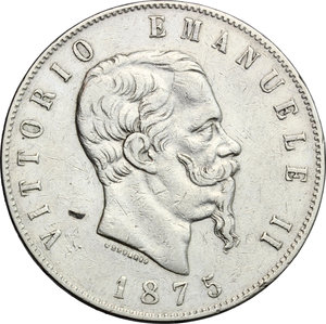 obverse: Vittorio Emanuele II  (1861-1878).. 5 lire 1875 Roma