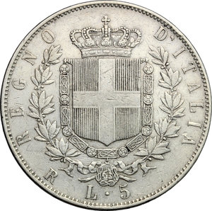 reverse: Vittorio Emanuele II  (1861-1878).. 5 lire 1875 Roma
