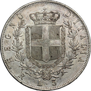 reverse: Vittorio Emanuele II  (1861-1878).. 5 lire 1876 Roma