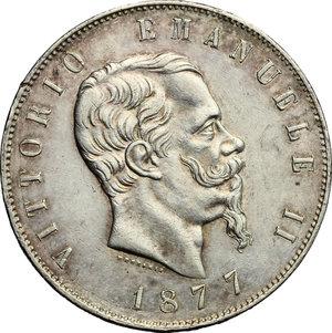 obverse: Vittorio Emanuele II  (1861-1878).. 5 lire 1877 Roma