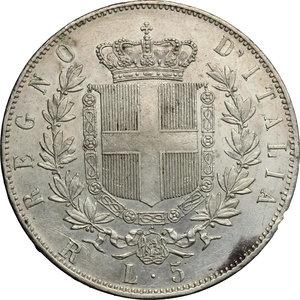 reverse: Vittorio Emanuele II  (1861-1878).. 5 lire 1877 Roma