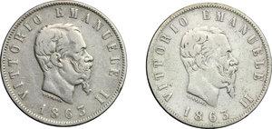 obverse: Vittorio Emanuele II  (1861-1878). Lotto di 2 monete da 2 lire: 1863 T e 1863 N