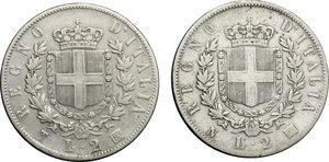 reverse: Vittorio Emanuele II  (1861-1878). Lotto di 2 monete da 2 lire: 1863 T e 1863 N