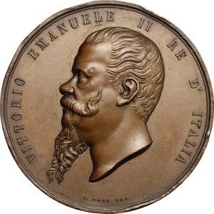 obverse: Vittorio Emanuele II  (1861-1878).. Medaglia per la visita del principe Umberto a Perugia, 1869