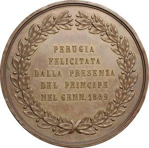 reverse: Vittorio Emanuele II  (1861-1878).. Medaglia per la visita del principe Umberto a Perugia, 1869