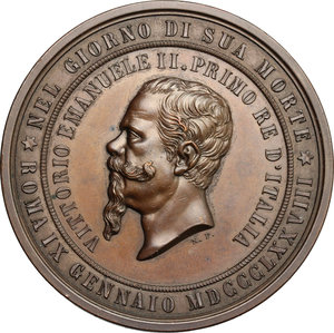 obverse: Vittorio Emanuele II  (1861-1878).. Medaglia per la morte, 1878