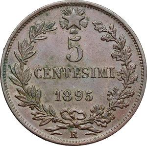 reverse: Umberto I (1878-1900).. 5 centesimi 1895 Roma