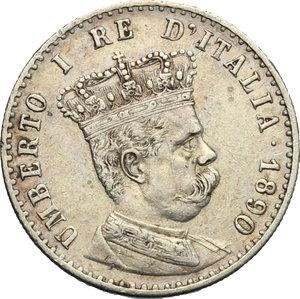 obverse: Umberto I (1878-1900).. 50 centesimi 1890