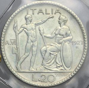 reverse: Vittorio Emanuele III (1900-1943). 20 lire 1927 A.VI