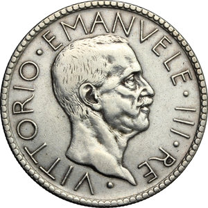 obverse: Vittorio Emanuele III (1900-1943).. 20 lire 1927 A. VI