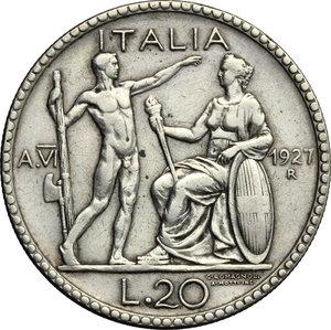 reverse: Vittorio Emanuele III (1900-1943).. 20 lire 1927 A. VI