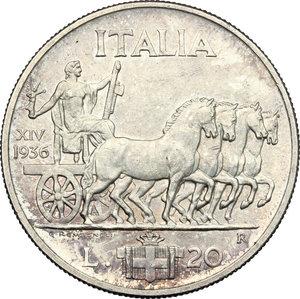 reverse: Vittorio Emanuele III (1900-1943). 20 Lire 1936 Roma