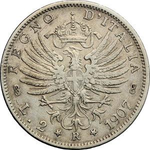 reverse: Vittorio Emanuele III (1900-1943). 2 lire 1907