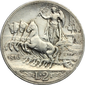 reverse: Vittorio Emanuele III (1900-1943). 2 lire 1910