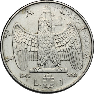 reverse: Vittorio Emanuele III (1900-1943). Lira 1943