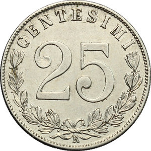 reverse: Vittorio Emanuele III (1900-1943). 25 centesimi 1902