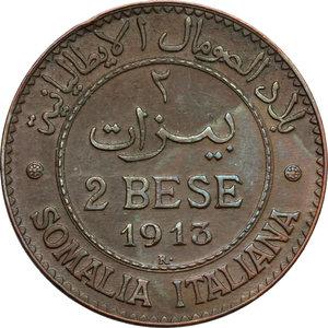reverse: Vittorio Emanuele III (1900-1943). 2 bese 1913