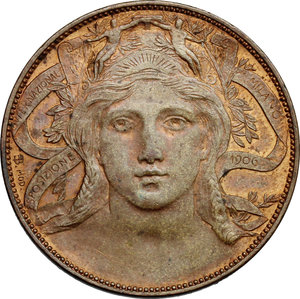 reverse: Vittorio Emanuele III (1900-1943). 20 centesimi Esposizione di Milano 1906