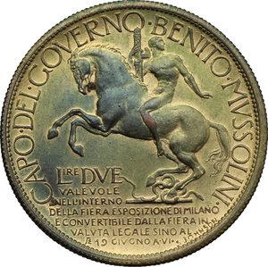 reverse: Vittorio Emanuele III (1900-1943). 2 lire 1928 Fiera di Milano