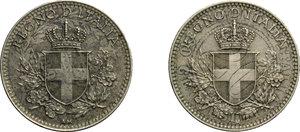 obverse: Vittorio Emanuele III (1900-1943). Lotto di due monete da 20 centesimi: 1918 e 1919. Ribattute su 20 centesimi 1894 e 1895