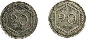 reverse: Vittorio Emanuele III (1900-1943). Lotto di due monete da 20 centesimi: 1918 e 1919. Ribattute su 20 centesimi 1894 e 1895