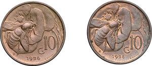 reverse: Vittorio Emanuele III (1900-1943). Lotto di due monete da 10 centesimi del 1926 (NC) e 1928 (R)