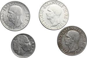 obverse: Vittorio Emanuele III (1900-1943). Lotto di quattro monete:  lira 1940 A. XVIII (2), lira 1942 A. XX e 20 centesimi 1943 A. XXI