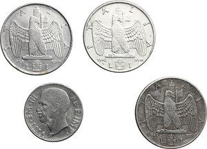 reverse: Vittorio Emanuele III (1900-1943). Lotto di quattro monete:  lira 1940 A. XVIII (2), lira 1942 A. XX e 20 centesimi 1943 A. XXI