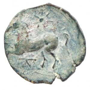 reverse: Mondo Greco. Apulia. Arpi. 217-213 a.C. Obolo. Ae. D\ Testa di Zeus verso sinistra. R/ Cavallo al galoppo verso sinistra, sopra una stella, sotto monogramma di Arpi. Peso 3,05 gr. Diametro 18,00 mm. SPL.Bellissima patina verde