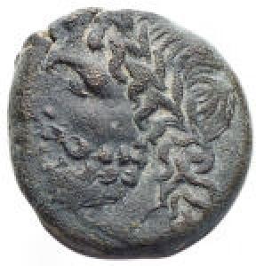 obverse: Mondo Greco - Apulia. Arpi. 217-213 a.C.Bronzo. D/ Testa di Zeus verso sinistra. R/ Cavallo al galoppo verso destra, sotto etnico. Peso 4,4 gr. Diametro 16,4 mm.BB++.Bello stile